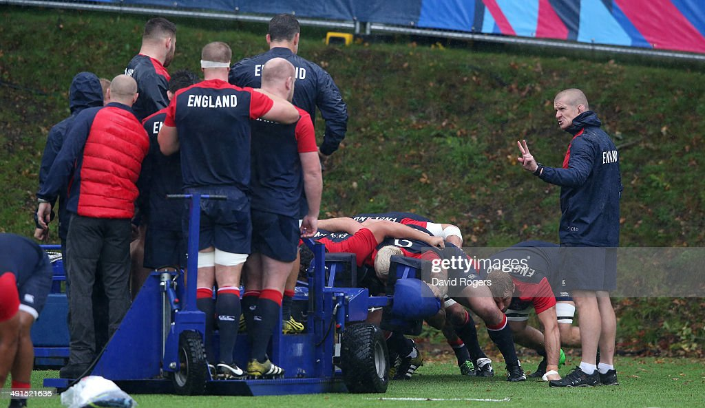 Graham Rowntree the England forwards coach issues instructions during the England training session at Pennyhill Park on October 6 2015 in Bagshot...