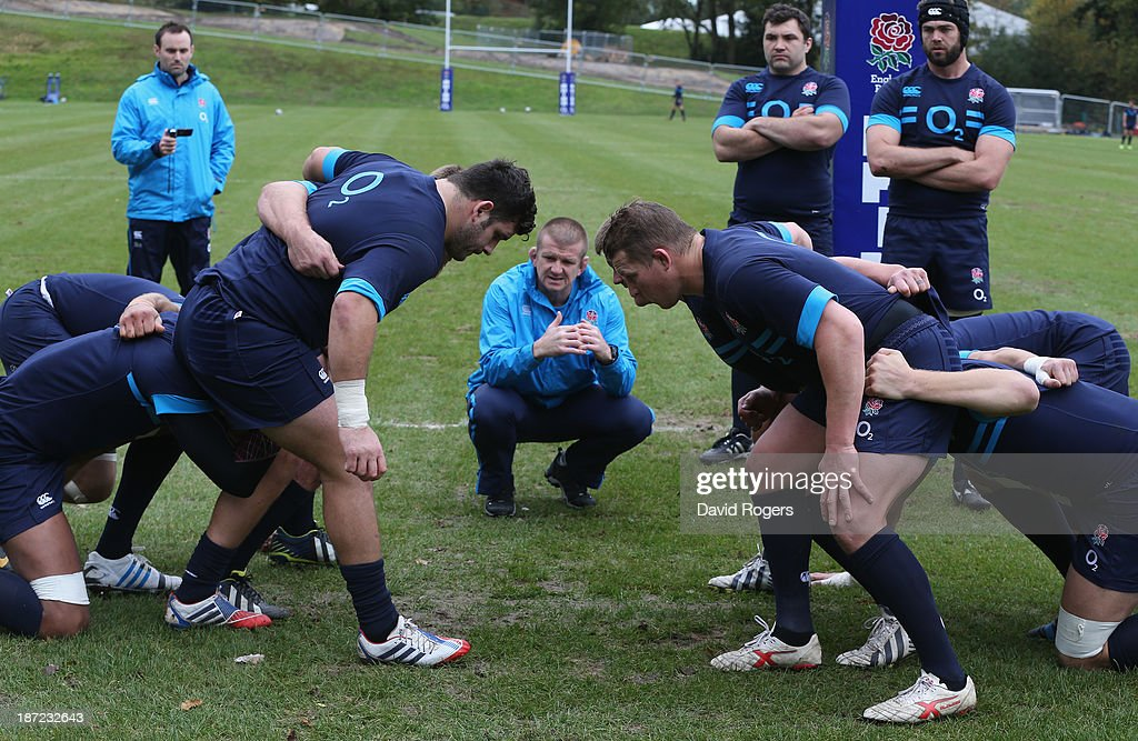 Graham Rowntree the England forwards coach looks as as the team practice their scrummaging during the England training session at Pennyhill Park on...