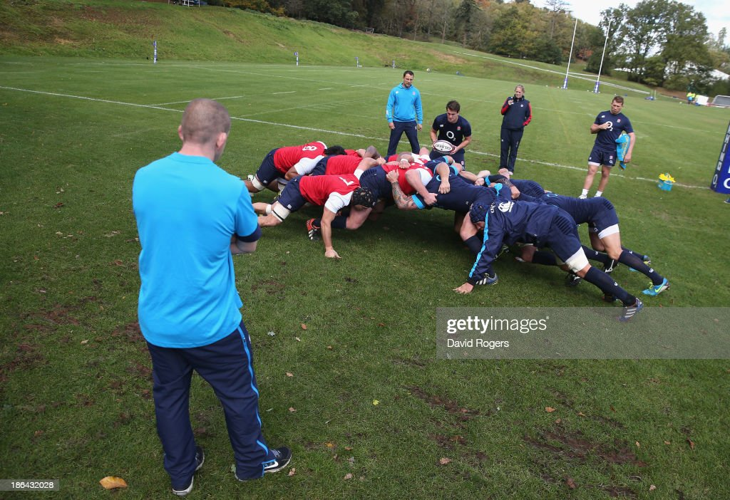Graham Rowntree, the England forwards coach looks on as England practice their scrummaging during the England training session held at Pennyhill Park on October 29, 2013 in Bagshot, England.