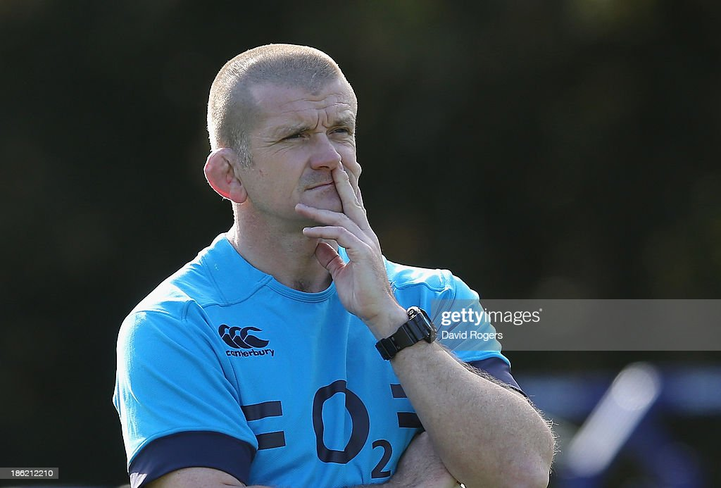 Graham Rowntree, the England forwards coach looks on during the England training session held at Pennyhill Park on October 29, 2013 in Bagshot, England.