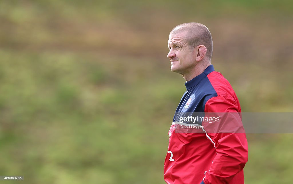 Graham Rowntree the England forwards coach looks on during the England training session held at Pennyhill Park on August 26 2015 in Bagshot England