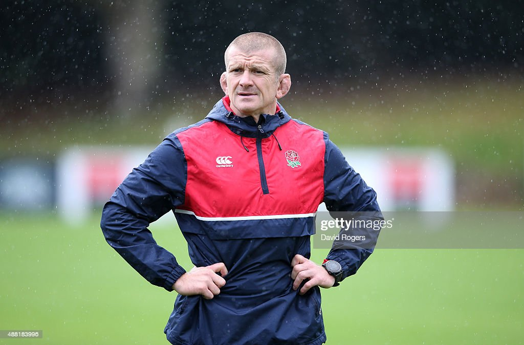 Graham Rowntree the England forwards coach looks on during the England training session at Pennyhill Park on September 14 2015 in Bagshot England