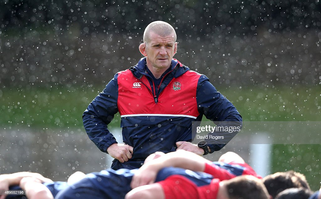 Graham Rowntree the England forwards coach looks on during the England training session at Pennyhill Park on September 22 2015 in Bagshot England