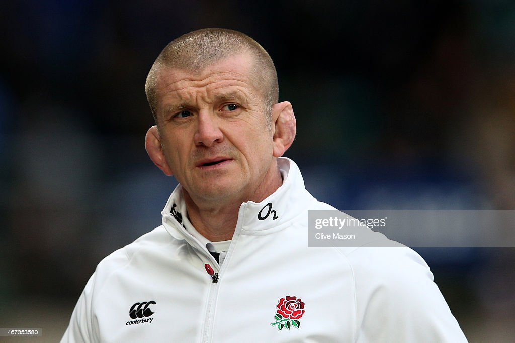 Graham Rowntree the England forwards coach looks on during the RBS Six Nations match between England and France at Twickenham Stadium on March 21...