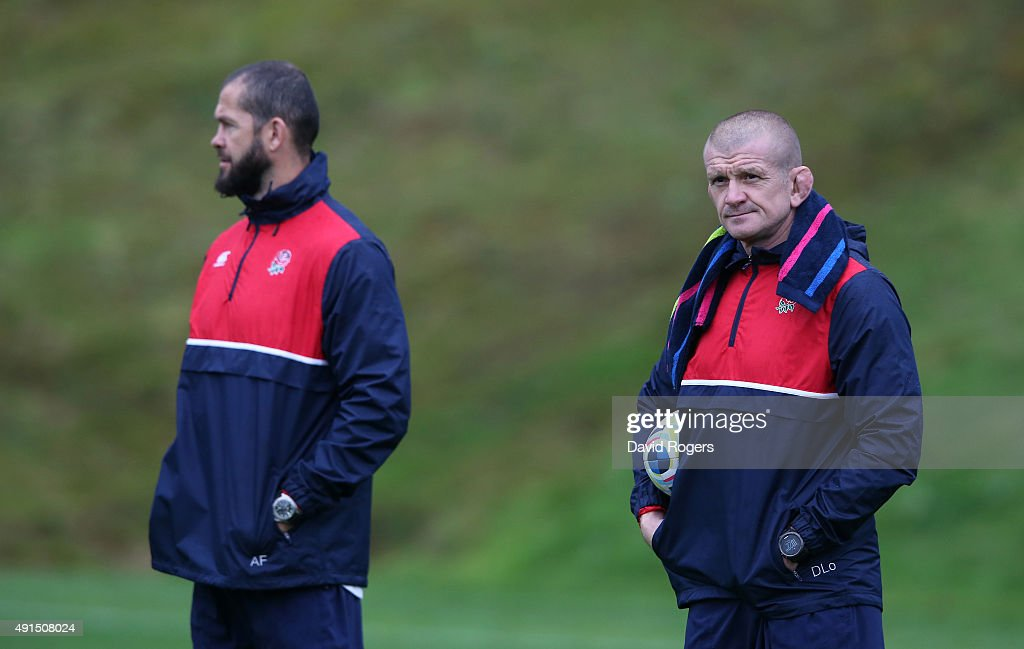 Graham Rowntree the England forwards coach looks on with back coach Andy Farrell during the England training session at Pennyhill Park on October 6...