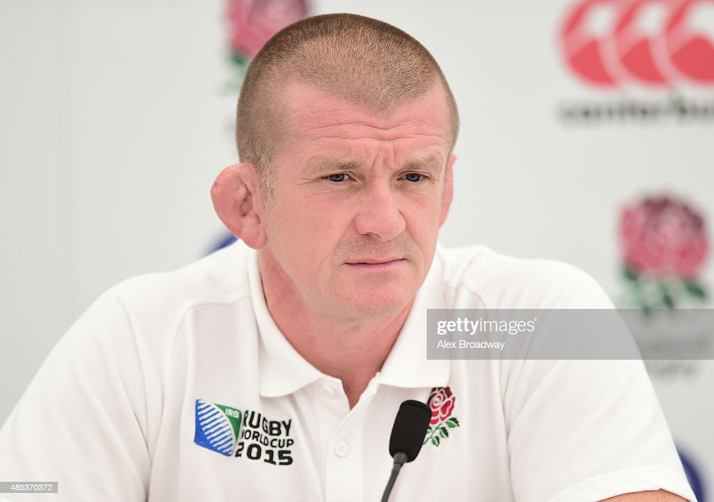 Graham Rowntree the England forwards coach speaks to the media during the England media session held at Pennyhill Park on August 27 2015 in Bagshot...