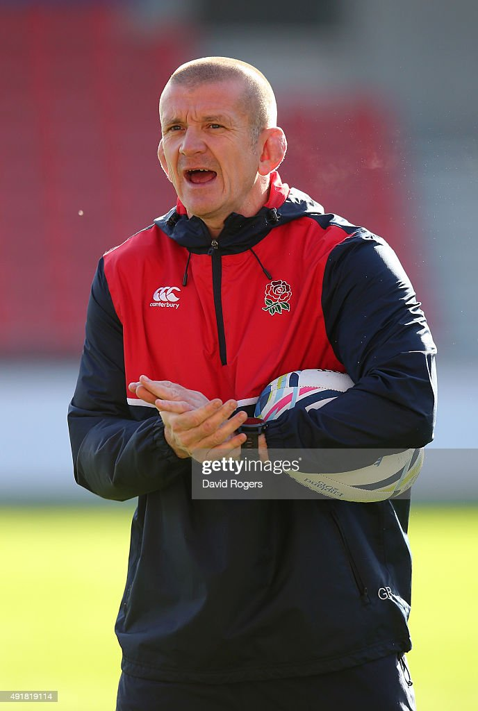 Graham Rowntree the forwards coach issues instructions during the England training session held at the AJ Bell Stadium on October 8 2015 in Salford...