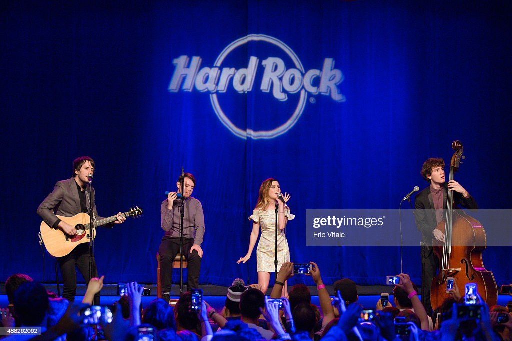 Graham Sierota Sydney Sierota Noah Sierota of Echosmith perform onstage at the 2015 Pinktober launch event with Echosmith at the Hard Rock Cafe Times...