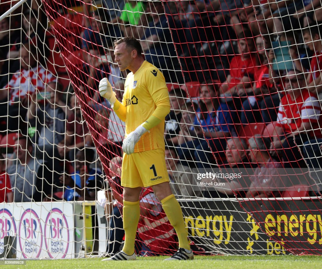 Graham Stack of Eastleigh during the National League match between Leyton Orient and Eastleigh at The Matchroom Stadium on August 26, 2017 in London, United Kingdom.