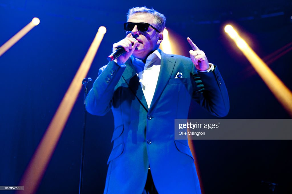Graham 'Suggs' McPherson of Madness performs during their 2012 The Charge Of The Mad Brigade UK Tour at Nottingham Capital FM Arena on December 6, 2012 in Nottingham, England.