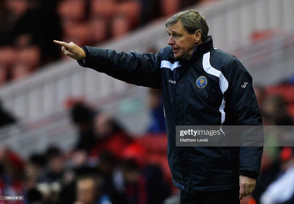 Graham Turner, manager of Shrewsbury Town gives out instructions during the FA Cup Third Round match between Middlesbrough and Shrewsbury Town at Riverside Stadium on January 7, 2012 in Middlesbrough, England.