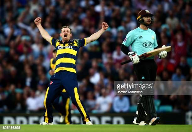 Graham Wagg of Glamorgan celebrates dismissing Mark Stoneman of Surrey during the NatWest T20 Blast match between Surrey and Glamorgan at The Kia...