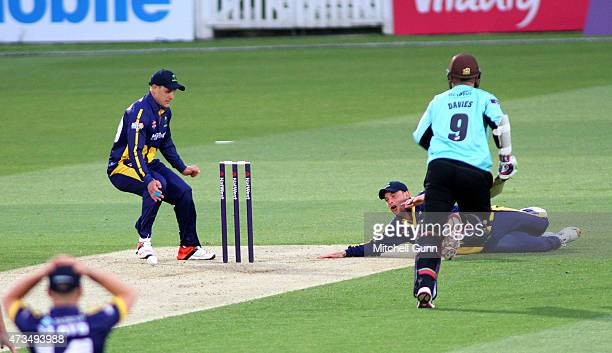 Graham Wagg of Glamorgan misses the stumps to run out Steven Davies of Surrey during the NatWest T20 blast match between Surrey and Glamorgan at the...