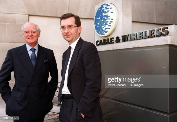 Graham Wallace the newly appointed Chief Executive of Cable and Wireless plc with Chairman Sir Ralph Robins at the company's offices in London