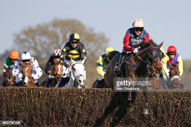 Graham Watters riding Loose Chips on their way to winning The Grandnational2017com Veterensâ Handicap Steeple Chase at Ascot Racecourse on April 2...