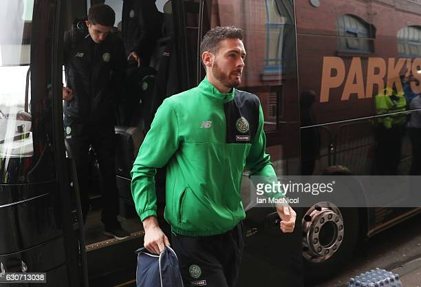Graig Gordonof Celtic is seen on arrival at the stadium prior to the Ladbrokes Scottish Premiership match between Rangers and Celtic at Ibrox Stadium...