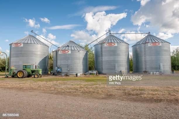 Grain bins at an alaskan barley farm