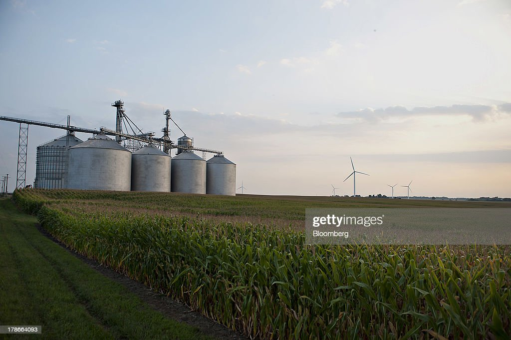 Grain bins stand near a corn field in Ohio, Illinois, U.S., on Wednesday, Aug. 28, 2013. Wheat futures fell for a third straight day on signs of slack demand for inventories from the U.S., the worlds largest exporter, while soybeans dropped and corn gained. Photographer: Daniel Acker/Bloomberg via Getty Images