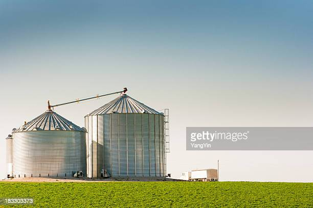 Grain Silo Bins and Truck in Farm Field Agricultural Landscape