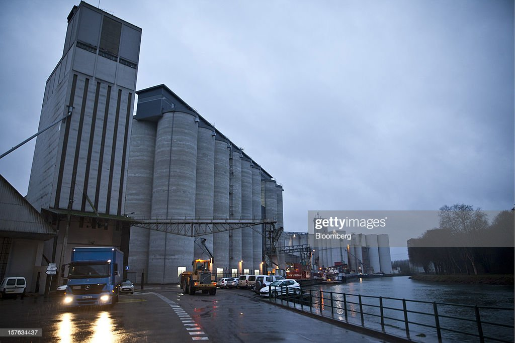 Grain silos stand at the Groupe Soufflet plant in Nogent-sur-Seine, France, on Tuesday, Dec. 4, 2012. European Union corn imports may be the second-highest on record this season after drought parched crops and a surge in wheat exports curbed domestic grain supply. Photographer: Balint Porneczi/Bloomberg via Getty Images