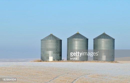 Grain storage in a winter landscape in Alberta,Canada