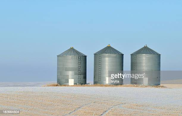 Grain storage in a winter landscape in Alberta,Canada