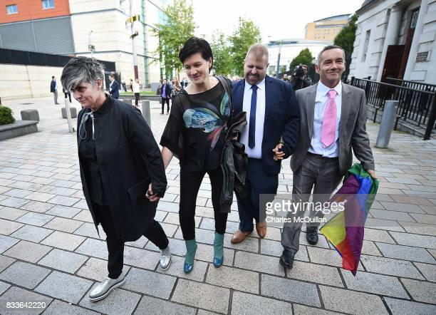 Grainne Close and Shannon Sickles alongside Henry Edmond Kane and Christopher Patrick Flanagan leave Belfast High Court hand in hand after the ruling...