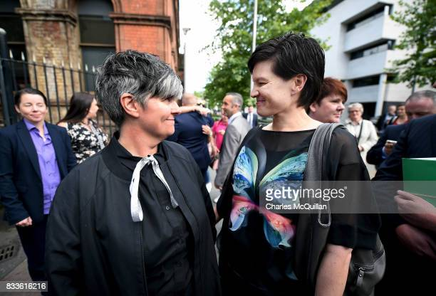 Grainne Close and Shannon Sickles smile at one another after losing their case for recognition of samesex marriage in Northern Ireland on August 17...