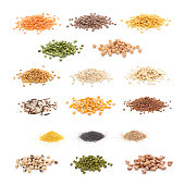 Grain and cereal collection. Isolated on white.