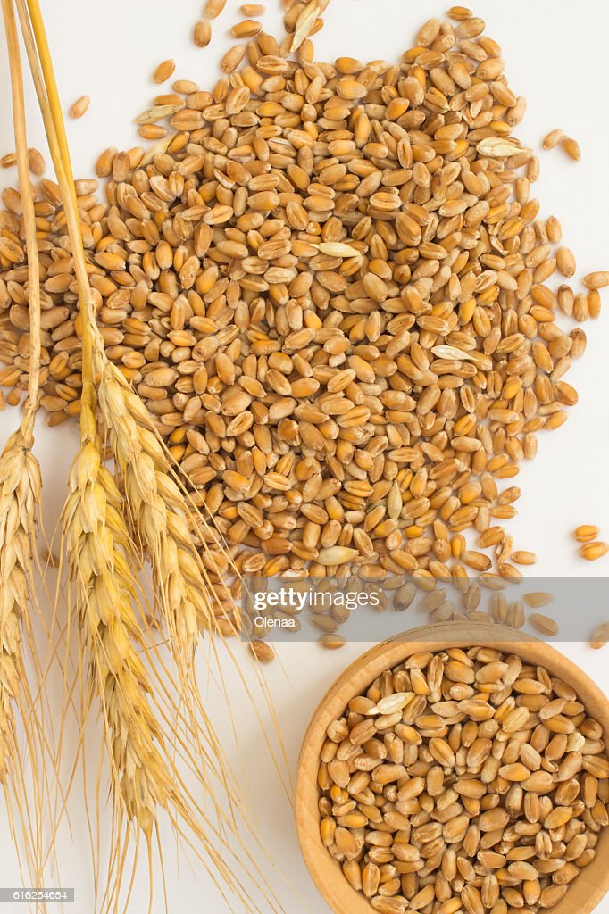 Grains of wheat and wheat spikelets. Top view : Foto de stock