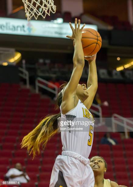 Grambling State Tigers guard Shakyla Hill catches a rebound during the SWAC basketball tournament game between the Southern Jaguars and Grambling...