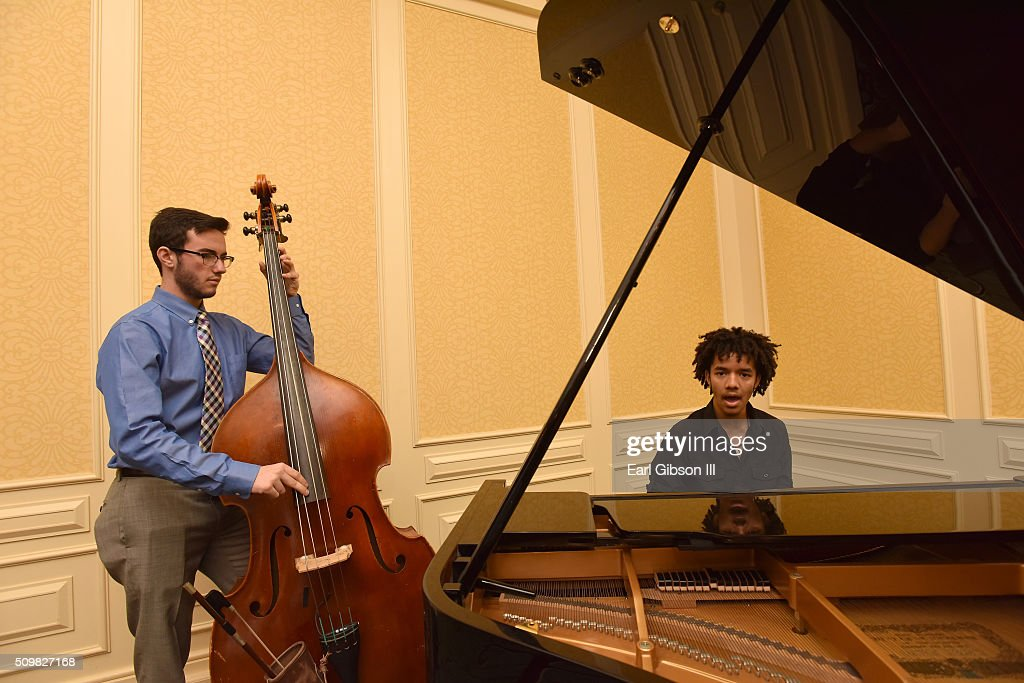 Grammy Academy musicians perform at the reception area prior to The 58th GRAMMY Awards Entertainment Law Initiative at Fairmont Miramar Hotel on February 12, 2016 in Santa Monica, California.
