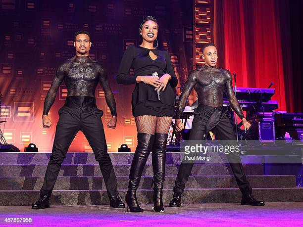 Grammy and Academy award winner Jennifer Hudson performs at the 18th Annual HRC National Dinner at The Walter E Washington Convention Center on...