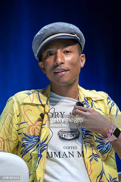 Grammy Award winner musician/entrepreneur Pharrell Williams speaks onstage as iHeartMedia hosts the main stage fireside chat about creativity with...
