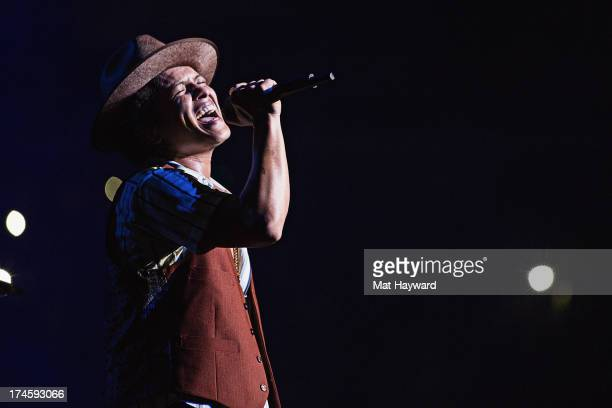 Grammy Award winner Platinum record producer and artist Bruno Mars performs at Staples Center on July 27 2013 in Los Angeles California