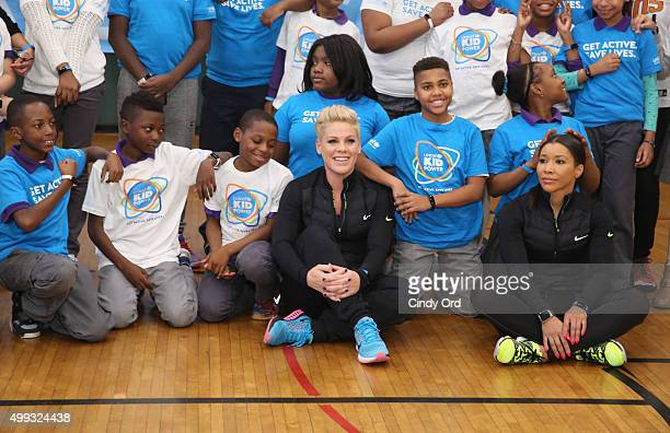Grammy award winner Pnk celebrates nationwide launch of UNICEF Kid Power with NYC school children at PS 242 on November 30 2015 in New York City