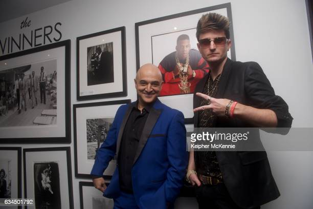 Grammy award winning recording artist Omar Akram and Artist/Songwriter Jaysin Voxx attend Morrison Hotel Gallery 'Winners' exhibit celebrating GRAMMY...