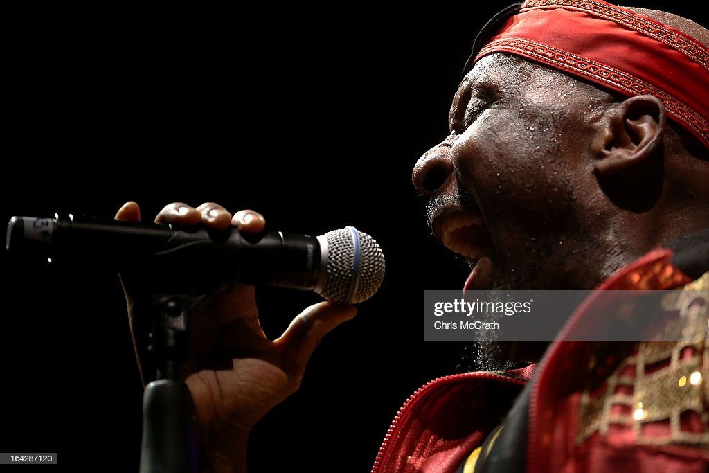 Grammy award winning reggae artist Jimmy Cliff performs on stage during the Timbre Rock Roots Festival 2013 on March 22 2013 in Singapore