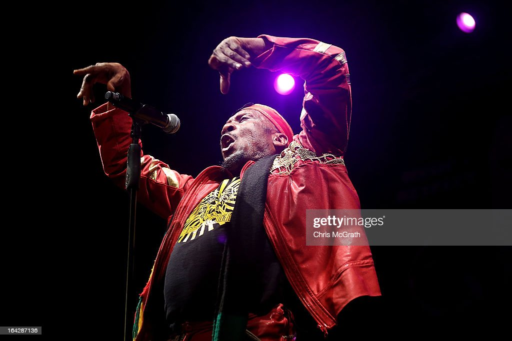Grammy award winning Reggae artist <a gi-track='captionPersonalityLinkClicked' href=/galleries/search?phrase=Jimmy+Cliff&family=editorial&specificpeople=239033 ng-click='$event.stopPropagation()'>Jimmy Cliff</a> performs on stage during the Timbre Rock & Roots Festival 2013 on March 22, 2013 in Singapore.