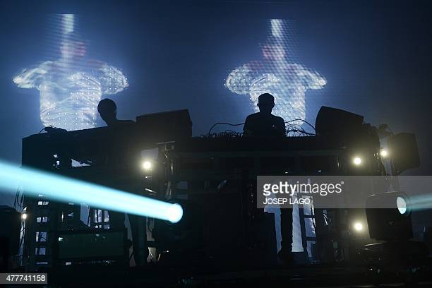 Grammy awardwinning British electronic music duo 'Chemical Brothers' Tom Rowlands and Ed Simons perform during the Sonar Festival 2015 in Barcelona...