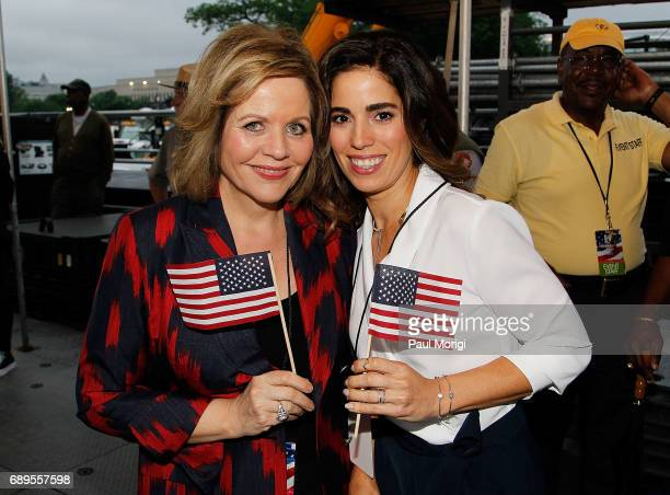 Grammy Awardwinning classical music artist Renee Fleming and Ana Ortiz backstage at PBS' 2017 National Memorial Day Concert at US Capitol West Lawn...