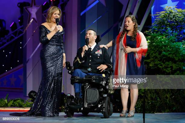 Grammy Awardwinning classical music artist Renee Fleming performs with Army Capt Luis Avila and vocal coach Rebecca Vaudreuili at PBS' 2017 National...