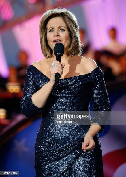 Grammy Awardwinning classical music artist Renee Fleming rehearses for PBS' 2017 National Memorial Day Concert at US Capitol West Lawn on May 27 2017...