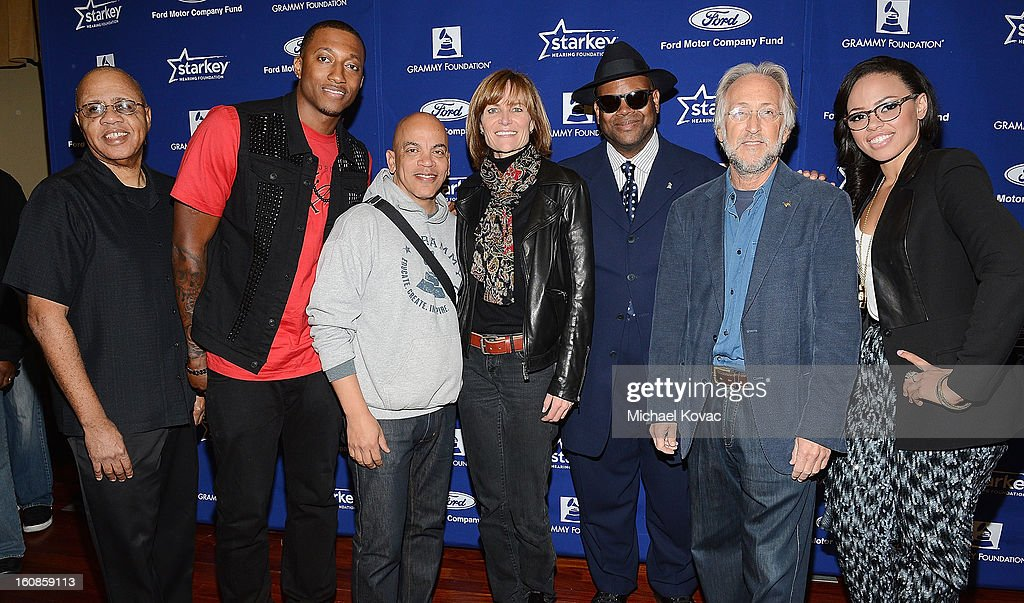 Grammy Foundation Senior Director David Sears, musician Lecrae, producer Rickey Minor, SVP Kristen Madsen, producer Jimmy Jam, President/CEO of The Recording Academy Neil Portnow, and singer Elle Varner attend GRAMMY Camp Basic Training on February 6, 2013 in Los Angeles, California.