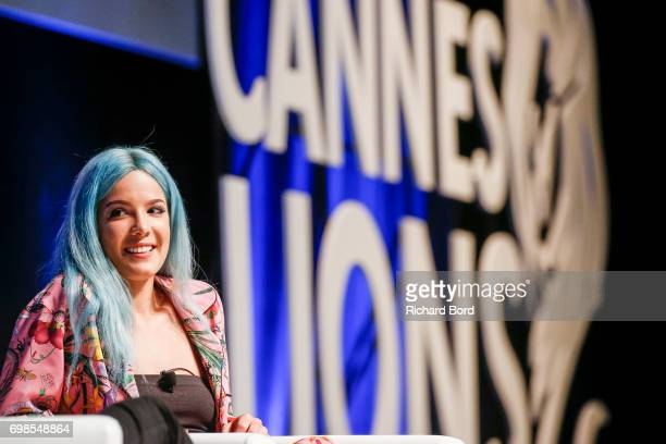 Grammy nominated singer and songwriter Halsey speaks during the Cannes Lions Festival 2017 on June 20 2017 in Cannes France