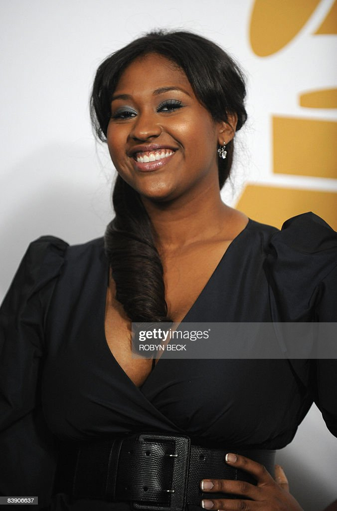 Grammy nominee Jazmine Sullivan poses in the photo room at the nominations announcement for the 51st Grammy Awards, on December 3, 2008 at the Nokia Theater at L.A. Live in downtown Los Angeles, California.