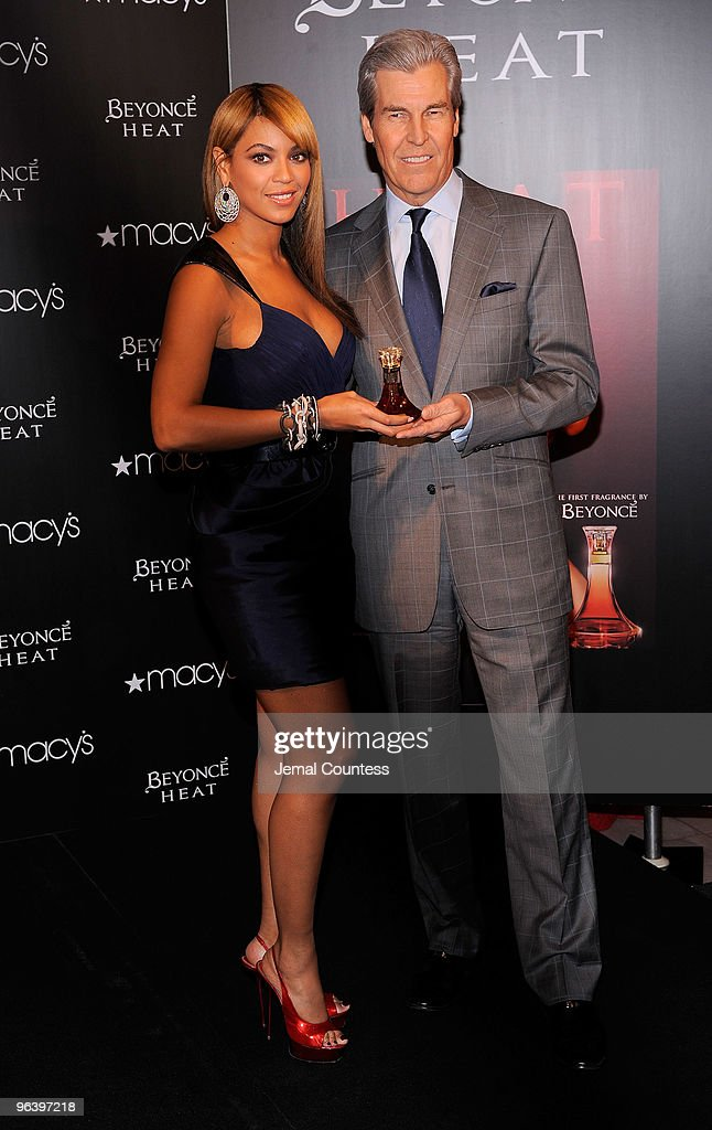 Grammy winning recording artist Beyonce and President and CEO of Macy's Terry Lundgren at the launch Beyonce's new fragrance 'Heat' at Macy's Herald Square on February 3, 2010 in New York City.