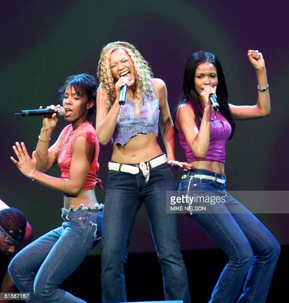 Grammynominated group Destiny's Child performs for US Presidentelect Gerge W Bush at the MCI Center during the preinaugural event 'Celebrating...