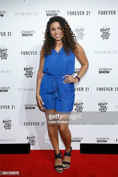 GrammyNominated Sony Music Recording Artist Jordin Sparks arrives for a public performance on the runway at Fashion Show Las Vegas on August 15 2015...