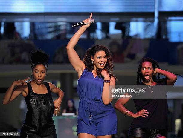 GrammyNominated Sony Music Recording Artist Jordin Sparks performs live on the runway at Fashion Show Las Vegas on August 15 2015 in Las Vegas Nevada